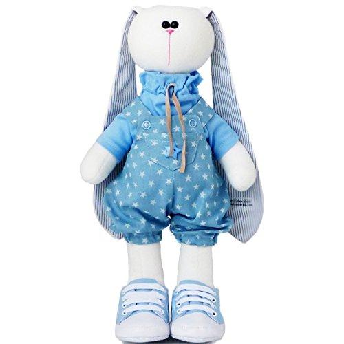 Handmade Stuffed bunny toy 14.5 inch, Fabric bunny doll for boys, Easter rabbit plush (102)