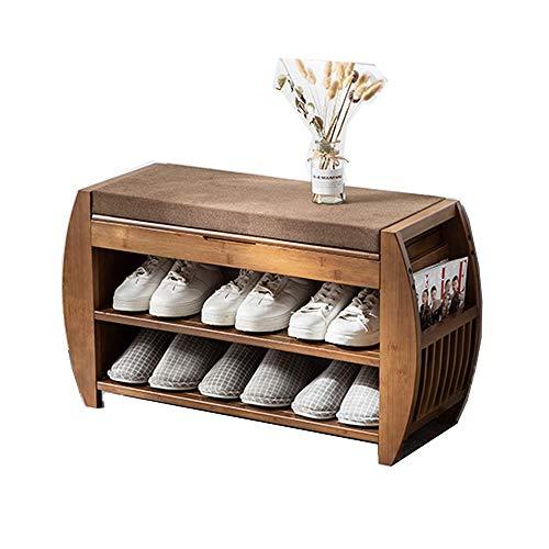 MOMIN Cambio de Taburete de Zapato Organizador de Almacenamiento de Entrada, cojín Desmontable con Almacenamiento Oculto Compartimiento de Zapatos de bambú y Banco de Zapatos Estante de Zapatos