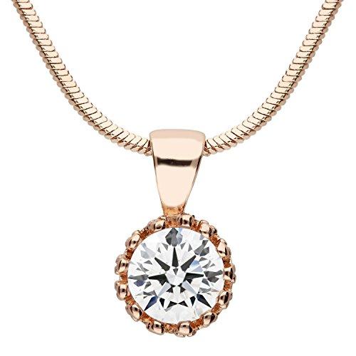 MYA art Damen Halskette Kette Rosegold Vergoldet mit einem Swarovski Elements Strass Kristall Solitär Stein Anhänger Collier Rose Gold MYARGKET-11