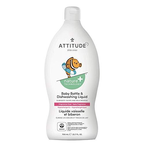 ATTITUDE, Baby Dish Soap, Non-toxic, ECOLOGO Certified, Fragrance-Free, 23.7 Fluid Ounce