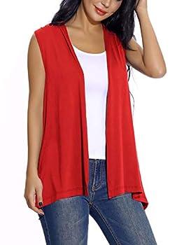 Women s Sleeveless Open Front Cardigan Vest Lightweight Cool Coat  XL Red