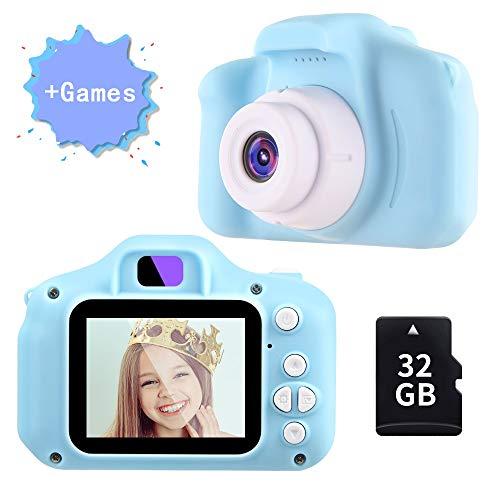 TekHome Top Spielzeug ab 3 Jahren Junge | Kinder Kamera Blaue mit Spiele für Junge 4 5 6 Jahre | 12MP 1080P Fotoapparat Digitalkamera 32GB SD Karte | Baby Geschenk Junge 7 8 9 Jahre.