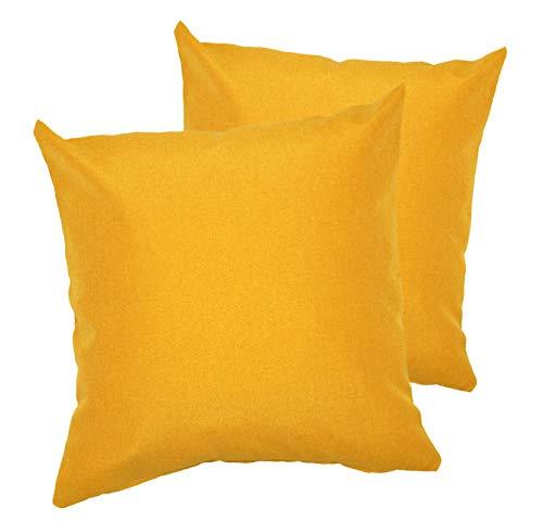 PremiumShop321 2er Pack Kissenbezug Kissenhülle Milano Wasser- und schmutzabweisende Oberfläche mit Perleffekt (gelb, 50x50 cm)