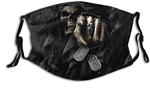 Cloth Face Mask Grim Reaper Death Dark Spooky Skull Teeth Bones You Next Washable Rave Bandana Neck Gaiter Scarf Dust Wind Balaclava With Filter For Kids Adults