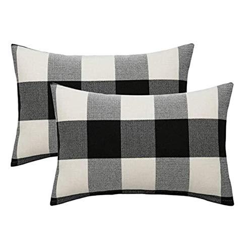 Bayda - Cojín clásico de algodón y lino, color liso