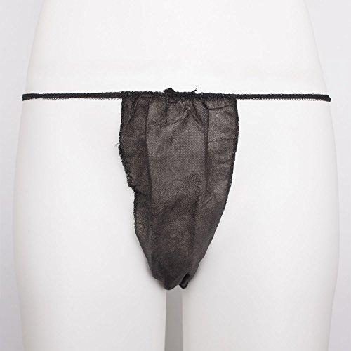 Einweg String Tanga DAMEN (50 Stück) aus Vliesstoff, schwarz, einzeln verpackt