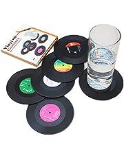 Juego de 6 Posavasos con Caja de Regalo, diseño Retro de Discos de CD (6)