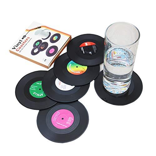 Set mit 6 Untersetzern in Geschenkbox, Retro-CD-Design, 6 Stück