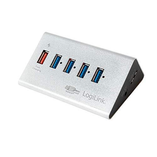 LogiLink UA0227 USB 3.0 Hub 4-Port + 1x Schnell-Ladeport mit Smart IC / LED Anzeige / Überspannungsschutz, für Windows & MAC OS