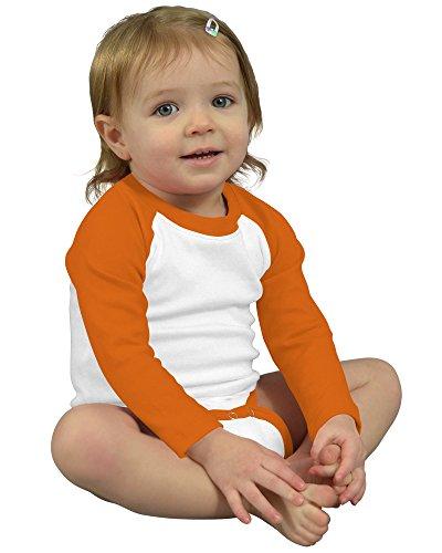 Monag Long Sleeve Raglan Bodysuit 6-12M White/Orange