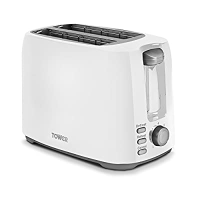 Tower Elements 2-Slice Toaster with Variable Browning Control, Defrost, Reheat and Cancel Settings, Removable Crumb Tray, 750 W, White