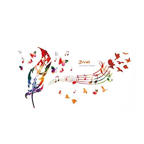 WeiMay. 1 Pieza de Color música Pluma Mariposa patrón Pared Adhesivo extraíble Pared Adhesivo Decorativo Decorativo para salón Dormitorio en casa