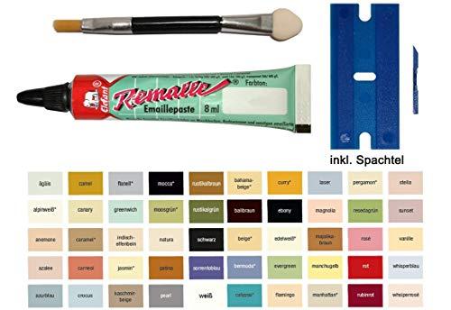 Manhattan Emaille Paste/Lack zur Reparatur von Bad, Fliesen, Keramik, Autolack, Fahrrad, Lack, Holz, Laminat uvm. von Elefant Emaillelack Remalle Reparaturlack 8ml Set von My-B-Style