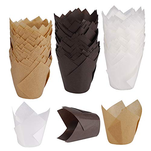 Backförmchen aus Papier Tulpe Muffin Fälle Cupcake Liner Wrapper für Hochzeiten Geburtstage Baby-Duschen 150 Stücke (Braun, Natürlich und Weiß)