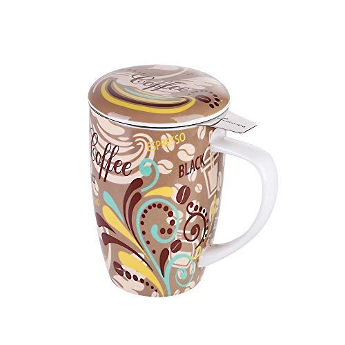 LOVECASA Taza de Te Porcelana Mug Infusión con Filtro y Tapa, Color Café 450 ML