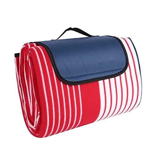 Picknickdecke 200x200cm Picknick-Matte XXLStranddecke mit Tragegriff Campingdecke aus Flee für Outdoor Park Garten wasserdicht faltbar rot-weiß