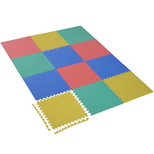 Homcom Tapis de Sol en Mousse Tapis Puzzle interconnectables dim. 63L x 63l x 1H cm 12 pièces Grande Surface 4,32 m² Multicolore