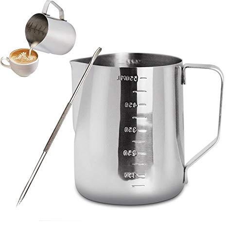 Gsyamh Bricco da Latte Lattiera per Cappuccino da Barista in Acciaio Inossidabile 304 Caraffa per Il Latte con Penna per Barista Adatto per Vari Squisiti Motivi Decorativi sulla Superficie del caffè