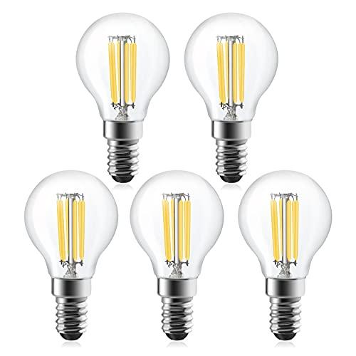 Bonlux 6W E14 LED Filament Tropfenform Lampe Dimmbar P45 Edison Vintage Glühbirne Warmweiß 2700K 600LM Ersetzt 60W 360°Abstrahlwinkel Retro Glühlampe (5 Stück)
