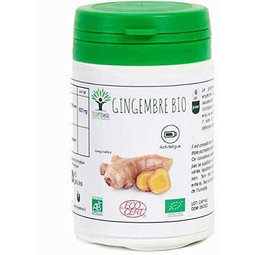 Gingembre Bio - Bioptimal - Complément alimentaire - Energie Mal des transports Digestion Sexualité - Poudre de Racine - 270 mg par Gélule - Fabriqué en France - Certifié par Ecocert - 60 gélules