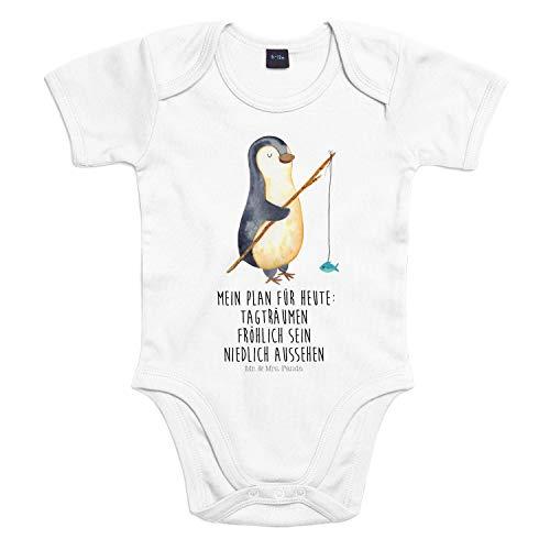 Mr. & Mrs. Panda Baby, Strampler, 18-24 Monate Baby Body Pinguin Angeler mit Spruch - Farbe Transparent