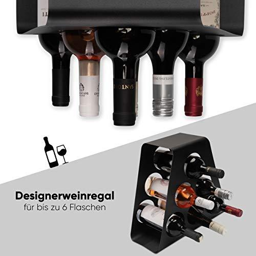 CALUTEA Modernes Weinregal // Metall // Schwarz // Stehend // Designer Weinständer