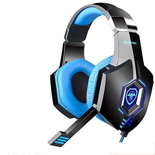 QNSQ Headset gaming headset, Surround Sound PC Gaming Headset, Ingebouwde 7.1 geluidskaart audio-processor, Koele gloeiende esports entertainment headset, size, Blauw
