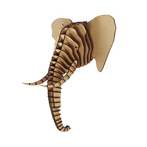 Tête d'éléphant en bois 3D - Décoration murale