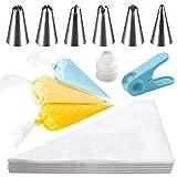 HAKACC Spritzbeutel Einweg, 100 Stück Spritztüte Set Icing Bags Piping Bags mit 6er Spritztüllen Set Torten Zubehör zum Backen und Dekorieren