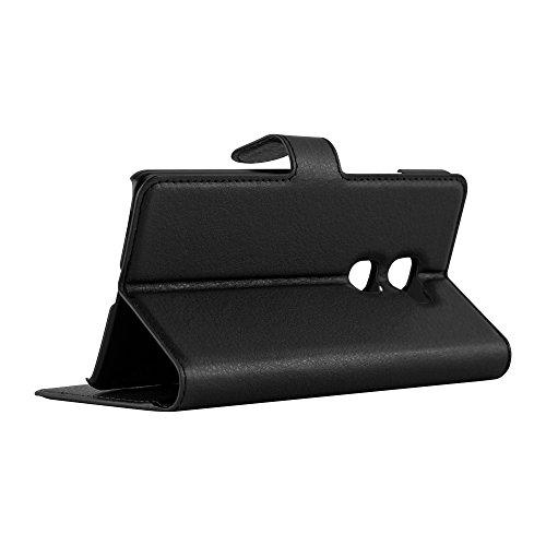 Cadorabo Hülle für Huawei Mate S - Hülle in Phantom SCHWARZ – Handyhülle mit Kartenfach und Standfunktion - Case Cover Schutzhülle Etui Tasche Book Klapp Style - 6