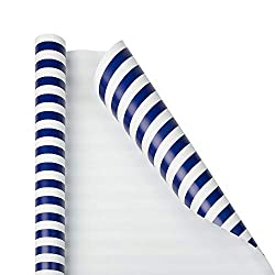 Navy Striped Christmas Wrapping Paper