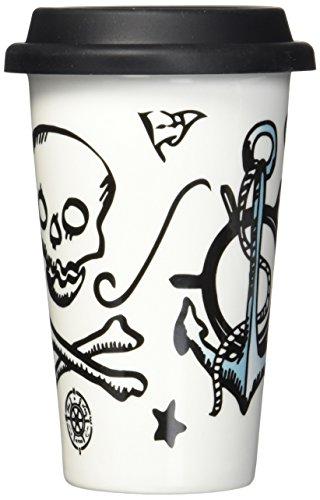 Sagaform 5017102 Mason Tasse à café, Porcelaine, 9 x 9 x 15 cm, blanc/noir/bleu