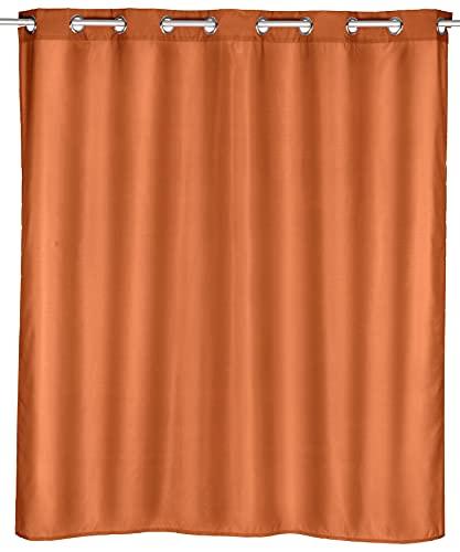 WENKO Duschvorhang Comfort Flex Terracotta, Textil-Vorhang wasserabweisend, waschbar, mit integrierter Hängeeinrichtung, Polyester, 180 x 0 x 200 cm