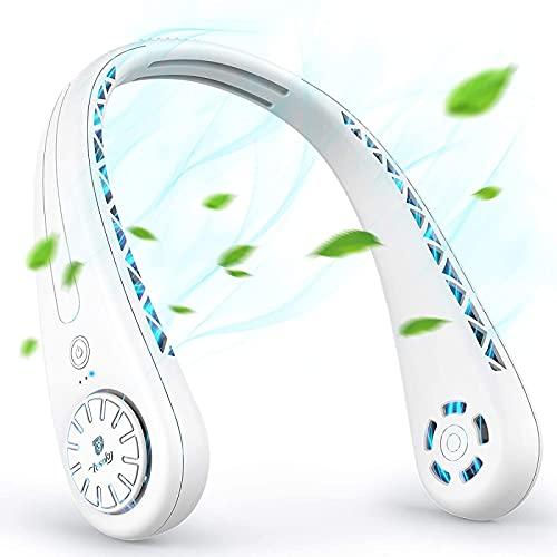 QAZW Mini Ventilador Portátil, Ventilador USB para Teléfono Móvil Mini, 360 ° Ajustable Sin Ventilador De Rueda, Ventilador De Cuello De 3 Velocidades Sin Rotor para Senderismo,White