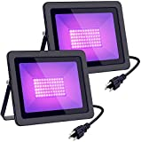 100W Black Lighting with Plug(6ft Cable), IP65 Waterproof-for Party, Stage, Aquarium, Body Paint, Fluorescent Poster, Neon Glow, Glow in The Dark /2-Pack