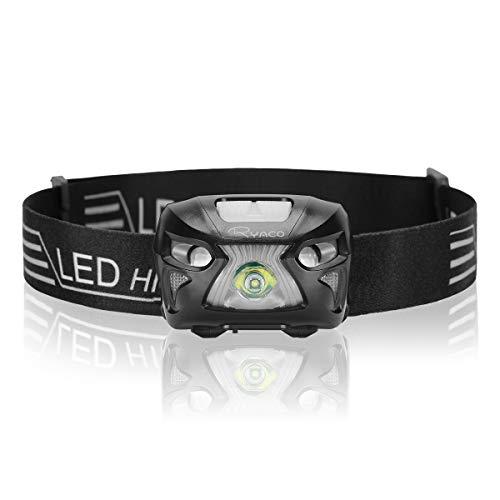 RYACO Linterna Frontal LED USB Recargable 1200mAh, Linterna Cabeza 4 Modos Sensor de Movimiento, Linternas LED alta Potencia 300 Lúmenes IPX4 Impermeable para Camping, Pesca, Carrera, Ciclismo (Negro)