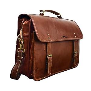 ALDESAKA Personalized Messenger Leather Men's Bag, Custom Made, Laptop Messenger Bag,Distress Vintage, Full Grain…