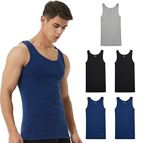 PAUNEW Camiseta Tirantes Hombre 5 Piezas de 100% algodón Camisetas sin Manga...