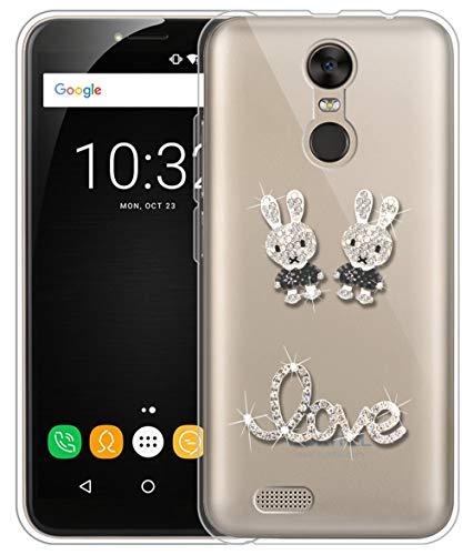 Sunrive Für OUKITEL C8 Hülle Silikon, Glitzer Diamant Strass Transparent Handyhülle Schutzhülle 3D Etui handycase Case (Kaninchen 2) MEHRWEG