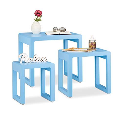 Relaxdays Satztisch 3er Set, Beistelltische ineinander stapelbar, matt lackierter Holztisch in elegantem Design, blau