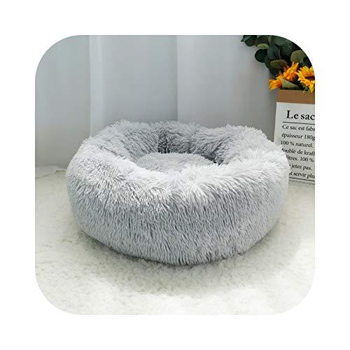 Cama de perro caliente, cojín polar redondo para perro, casa larga, peluche para perros, perros grandes, grandes, gatos, suave, sofá, alfombra – Diámetro 40 cm