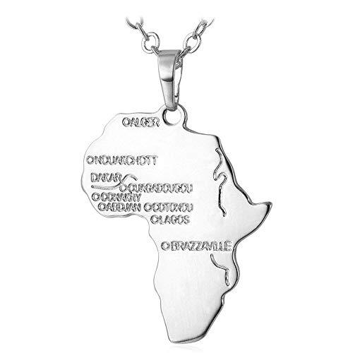 YOUHU Collar Mujer Mapa,Colgante De Metal con Forma De Mapa De África, Encantos De Plata A La Moda, Cadena De Gargantilla Africana, Regalo para Mujeres, Hombres, Joyería De Moda Unisex Especial