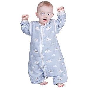 Lictin Saco de Dormir para Bebés-Saco de Dormir para Bebés con Mangas Extraíbles para Bebés Niños de 1-3 años de 75 a 95 cm 2.0 TOG Motivo de Cielo Azul y Nubes Blancas 100% al Algodón Orgánico