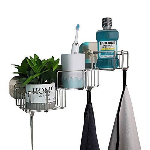 Badezimmereckenregale, Badezimmerregale, Duschwanne mit rostfreiem Edelstahlkleber für Küchen- und Badezimmerzubehör - Kleberaufkleber enthalten