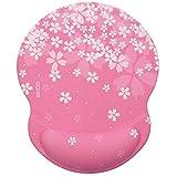 Exco ergonomico mouse pad nero con morbida in gel PU antiscivolo supporto per polso, superficie liscia Poggiapolsi Pad – Fit per computer e portatili Pink sakura pad.