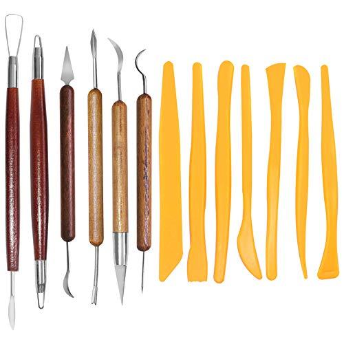SENHAI - Strumenti per scultura con argilla e terracotta, 6 strumenti con manico in legno per incidere e 7 strumenti in plastica per modellare, per scolpire, scavare, l'argilla e la ceramica