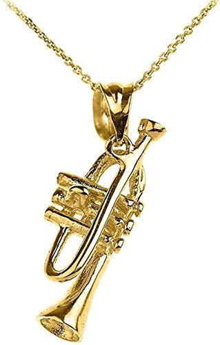 NC83 Collar con colgante de trompeta de oro amarillo de 10 quilates