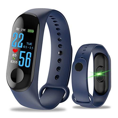 Fitness Armband mit Pulsmesser - M3 Wasserdicht IP68 Smart Fitness Tracker Uhr Farbbildschirm mit GPS Hochpräzise Herzfrequenz-Blutdruckmessgerät (Blau)