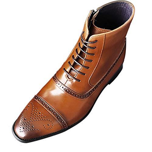 Kapian Herren Klassische Stiefel Kurzschaft Stiefel Western Cowboy Stiefel Stiefel Hohe, Atmungsaktive Schnürstiefel mit Seitlichem Reißverschluss Herbst Winter Casual Lackleder Schuhe Stiefel