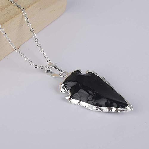 Obsidian Arrowhead Pendant 3 Inch Large Black Obsidian Arrow Point Wire Wrapped in Sterling Silver Obsidian Pendant Arrowhead Necklace
